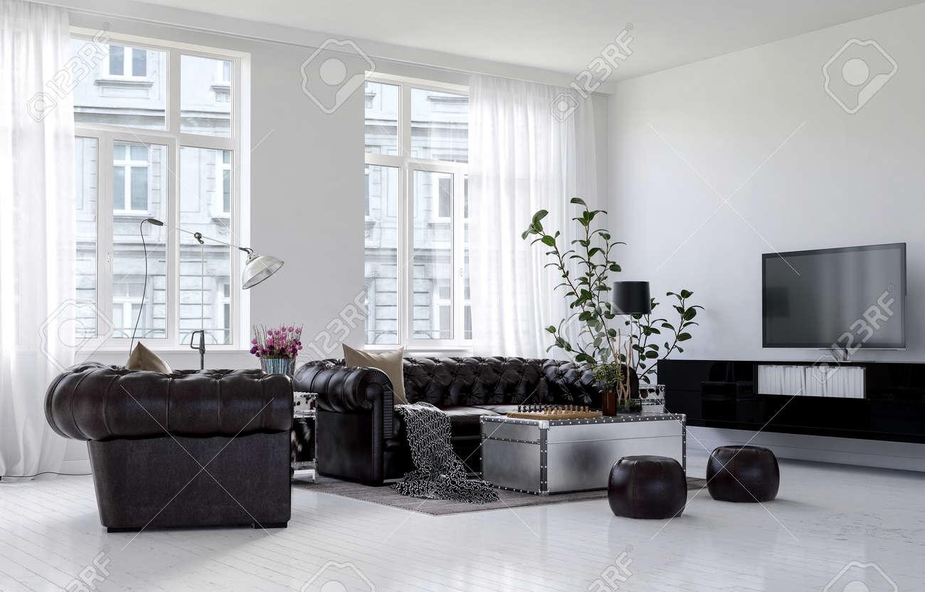 Immagini Stock - Ampio Soggiorno In Condominio Di Città Dal Design ...