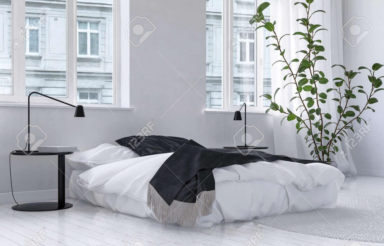 Interior De Dormitorio Luminoso Blanco Aireado En Un Apartamento ...