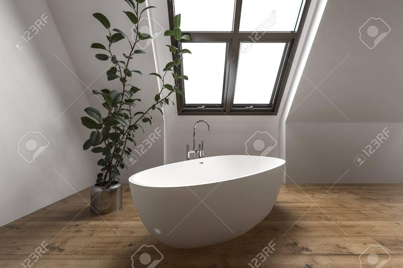 Schön Moderne Dachboden Badezimmer Mit Einfachen Wanne Unter Schrägem Fenster In  Der Nähe Von Hauspflanze Standard