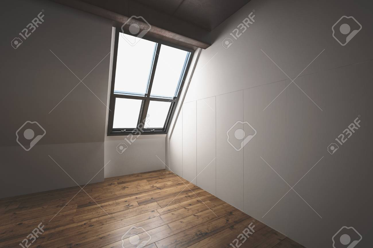 3d rendu coin dans un grenier aménagé avec un plancher de bois franc,  fenêtre en pente dans la pente du toit et exposé plafond en bois