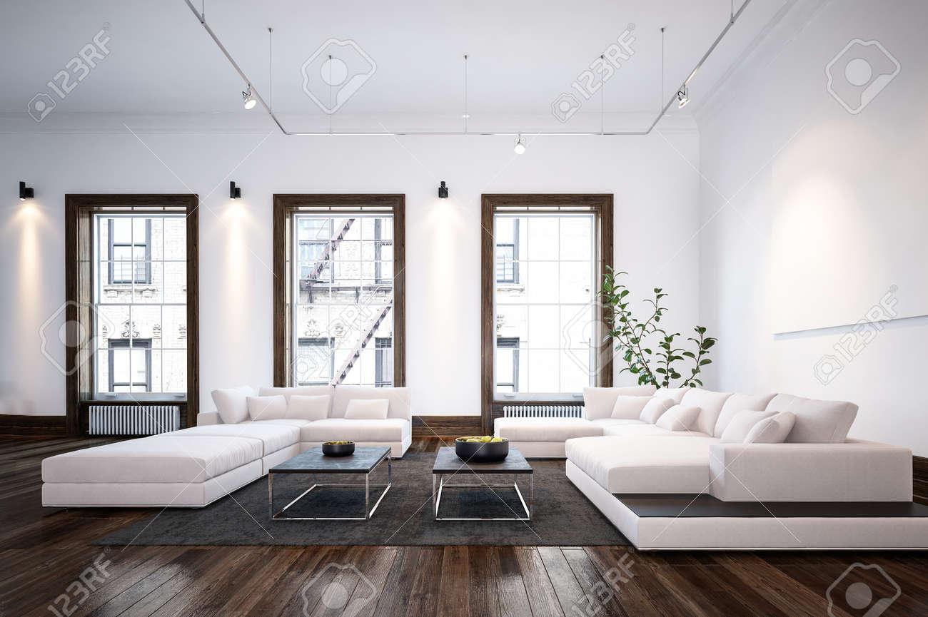 Moderne Minimaliste Salon Design Interieur De La Chambre Avec De Grands Canapes Et Des Tables Elegantes Sur Un Parquet En Bois En Face Des Fenetres