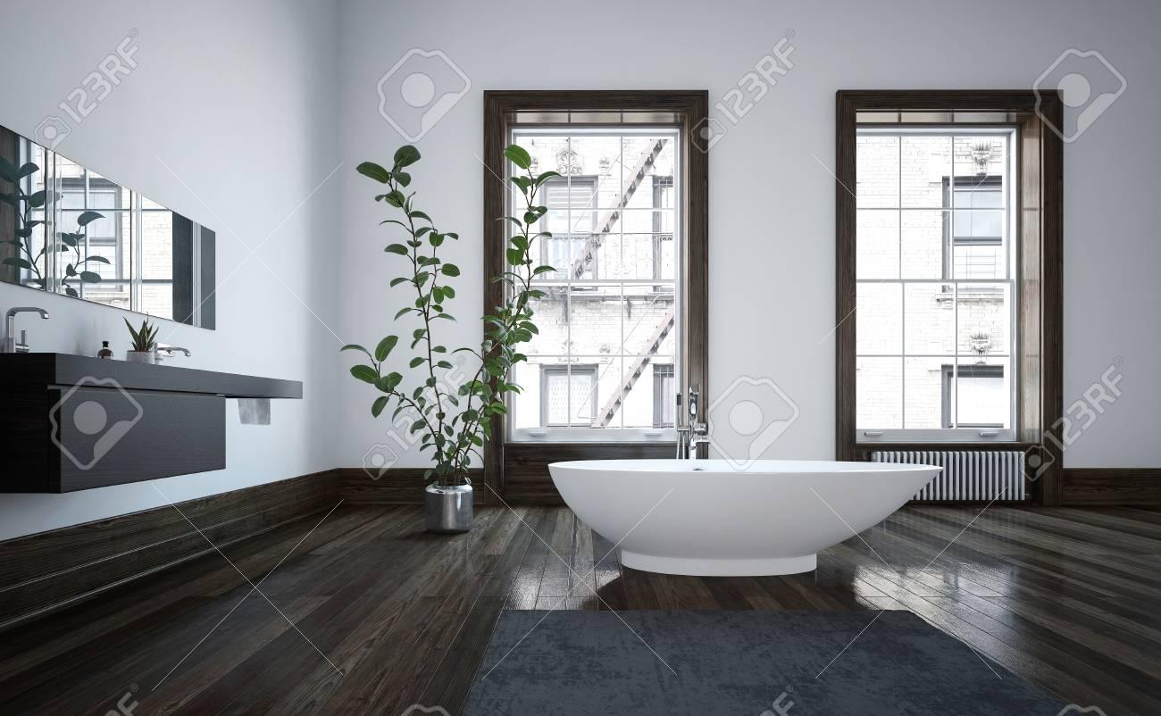 Elegant Spacious Modern Bathroom Interior With Freestanding White ...