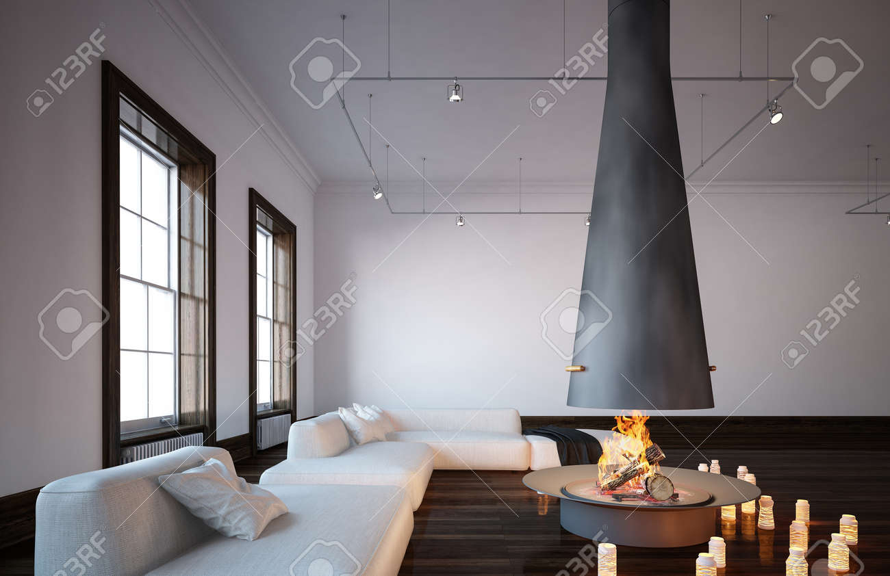 fireplace with hanging chimney in spacious living room with minimalist interior design with white couches - Hanging Fireplace