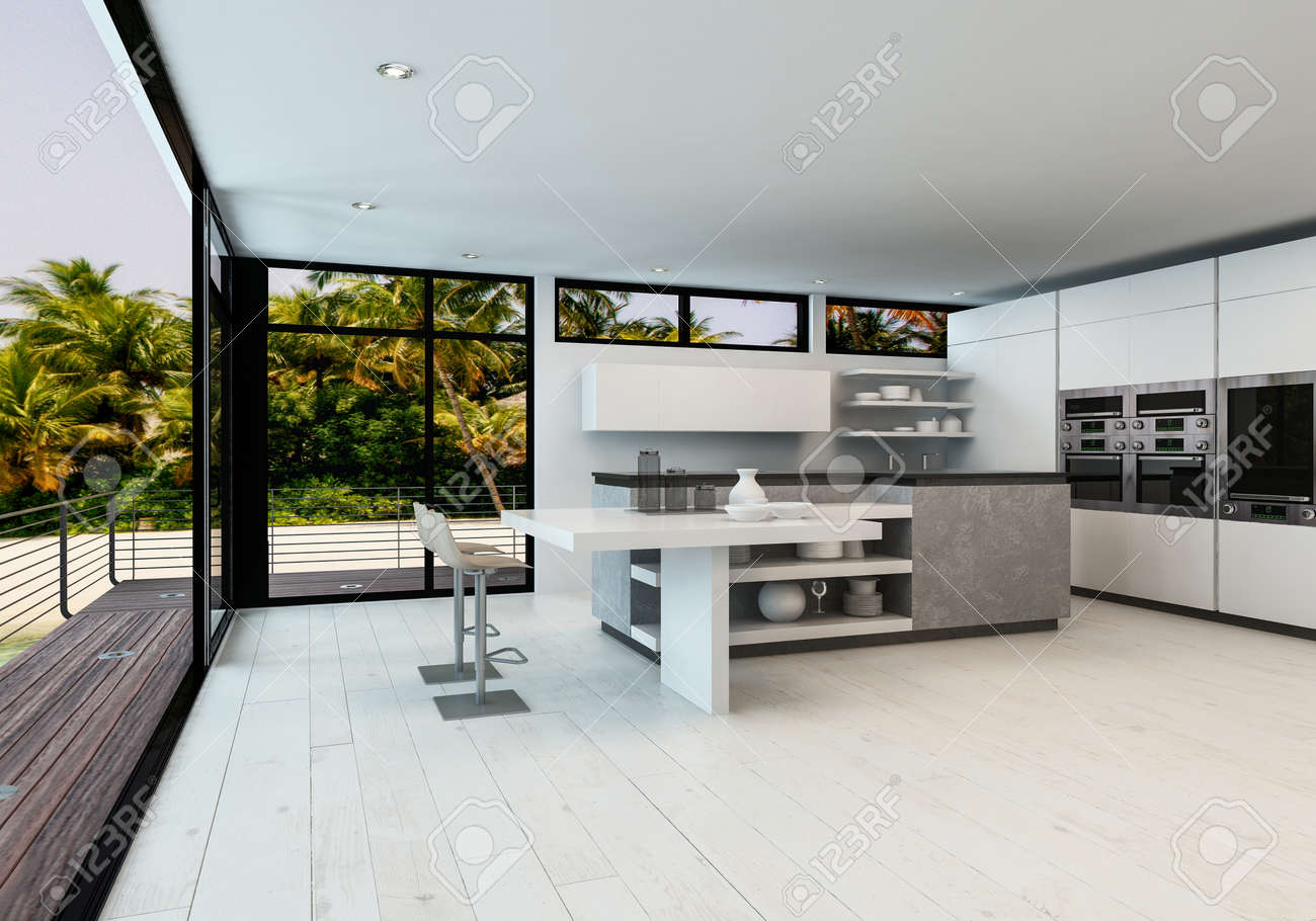 Large White Open Plan Minimalist Living Room With Kitchen In A Tropical Home Outdoor Deck