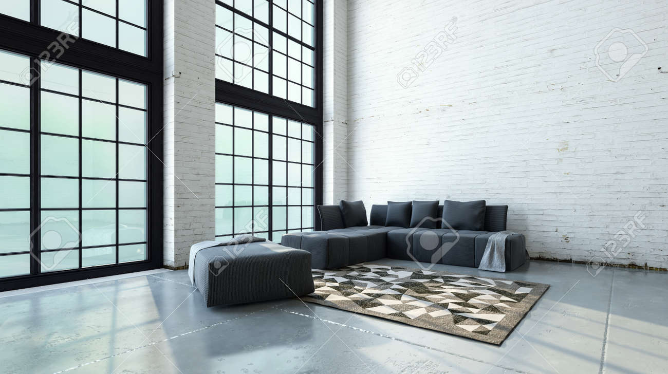 Spacious double volume living room interior with minimalist sofas..