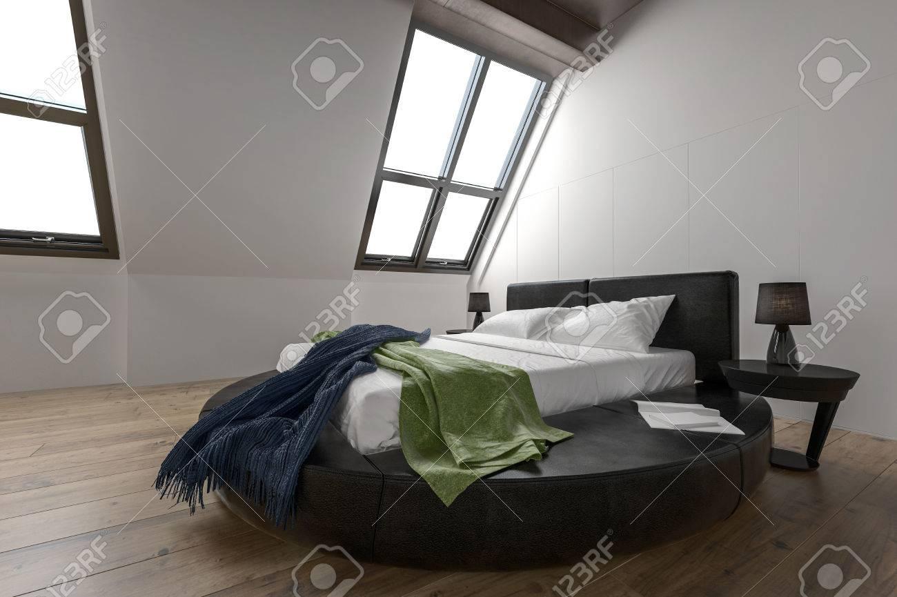 Designer Modernes Schlafzimmer Mit Schrägen Fenstern Und Minimalistischen  Möbeln Auf Parkettboden Standard Bild   73206179