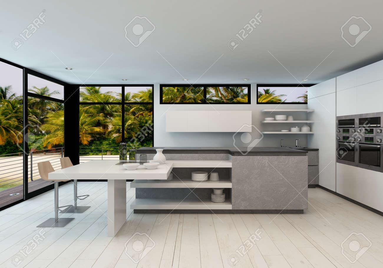 Banque Du0027images   Open Plan Cuisine Moderne Dans Une Villa Tropicale Avec  De Grandes Fenêtres De Vue Donnant Sur Des Palmiers Et Une Terrasse  Extérieure En ...