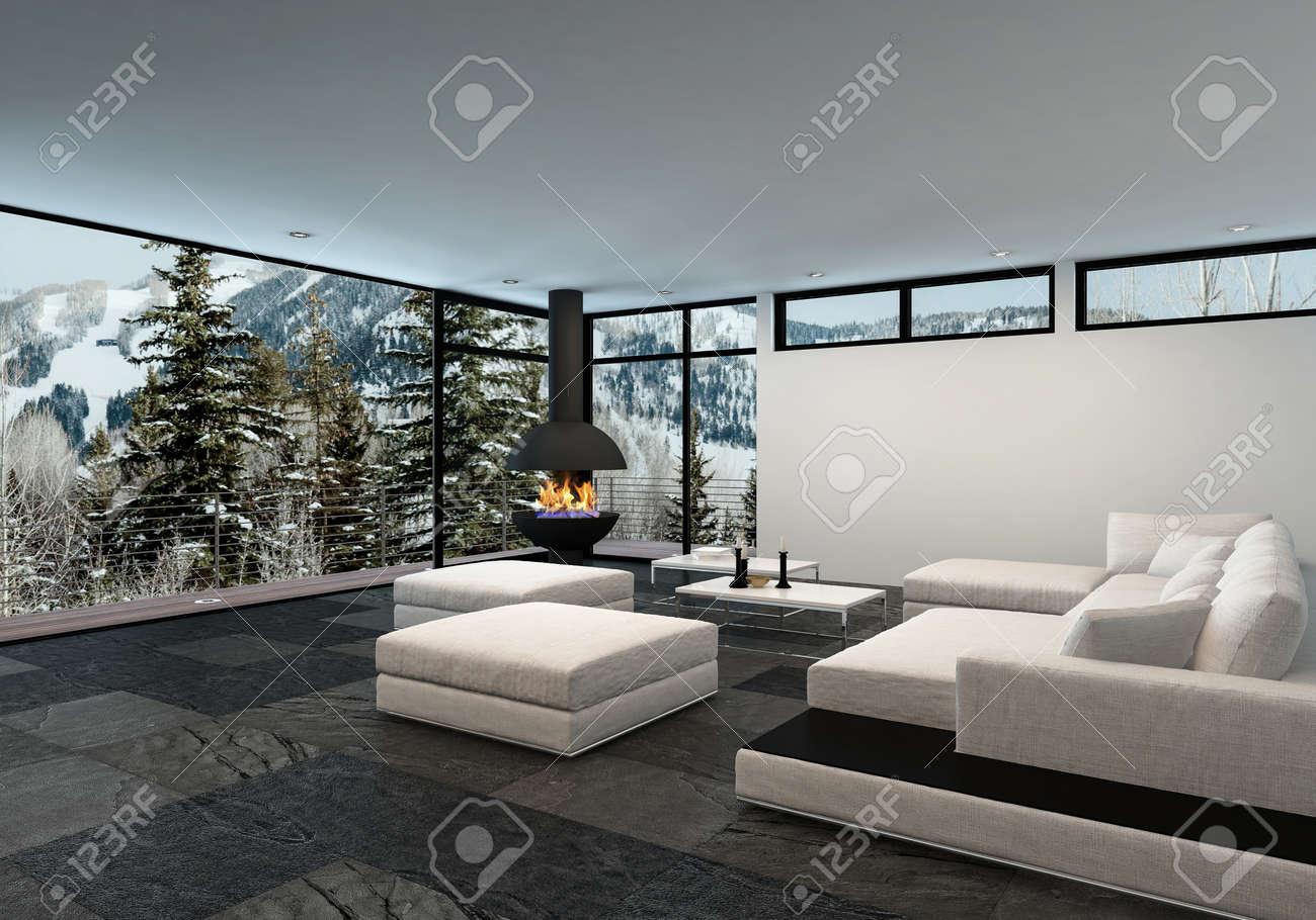 Geräumige Luxus Wohnzimmer Innenraum In Einer Berghütte Oder Haus Im