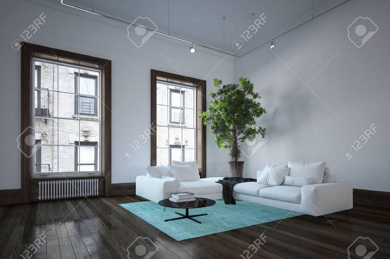 Geräumiges Wohnzimmer Im Stadtwohnung In Minimalistischer Innenarchitektur  Mit Weißer Couch, Dunkler Boden Und Großer Innenpflanze