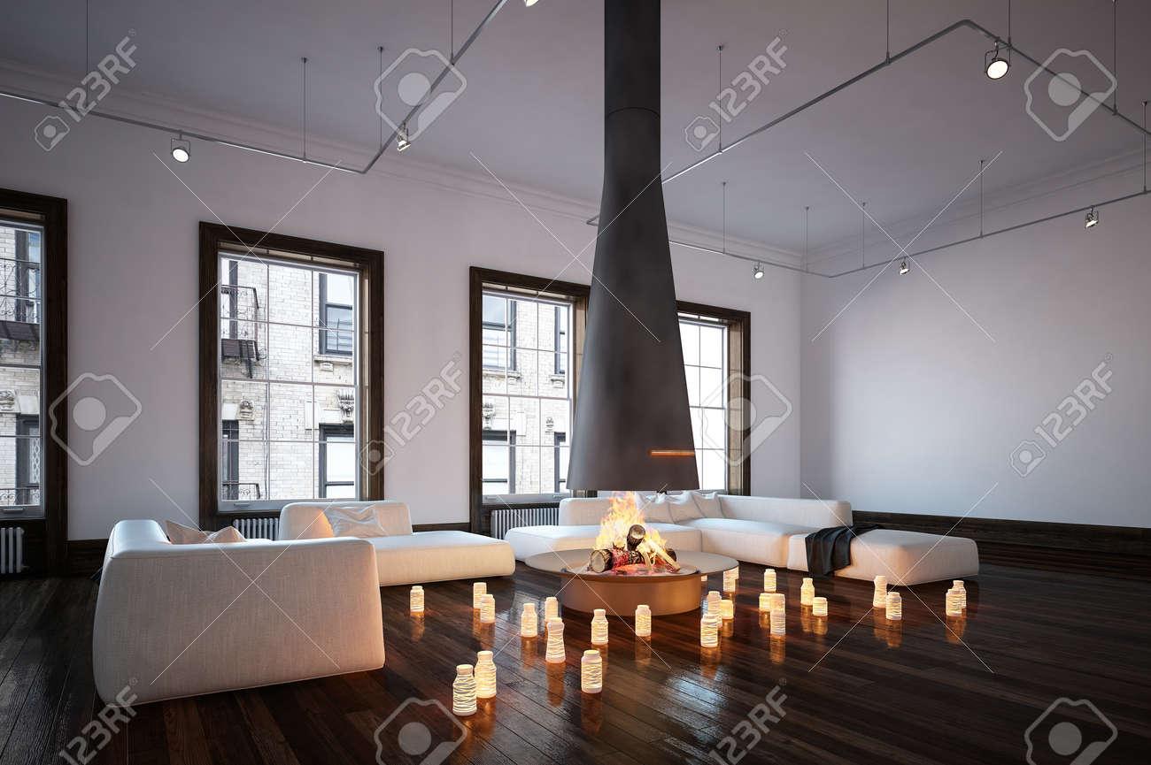 spacieux séjour avec cheminée suspendue cheminée, murs et canapés