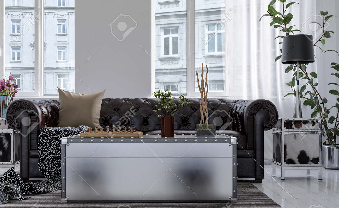 Enjoyable Chest Style Coffee Table In Front Of Chesterfield Couch Backed Creativecarmelina Interior Chair Design Creativecarmelinacom