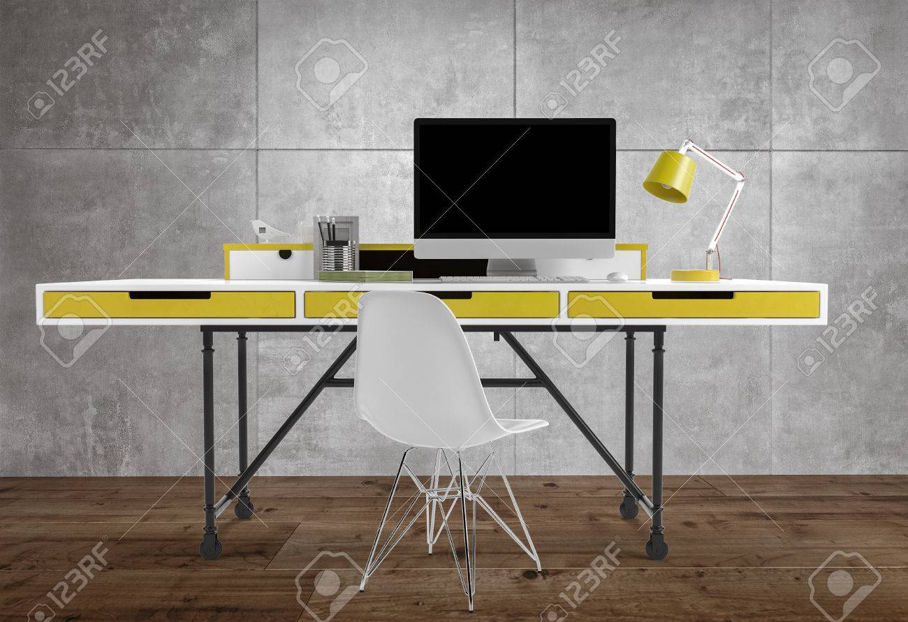 - Front View Of Thin Office Desk With Yellow Drawers And Lamp