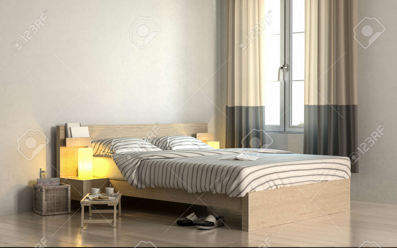 Merveilleux Corner Of Bright Bedroom With White Walls And Simple Wooden Bed With  Striped Linens Standing Near