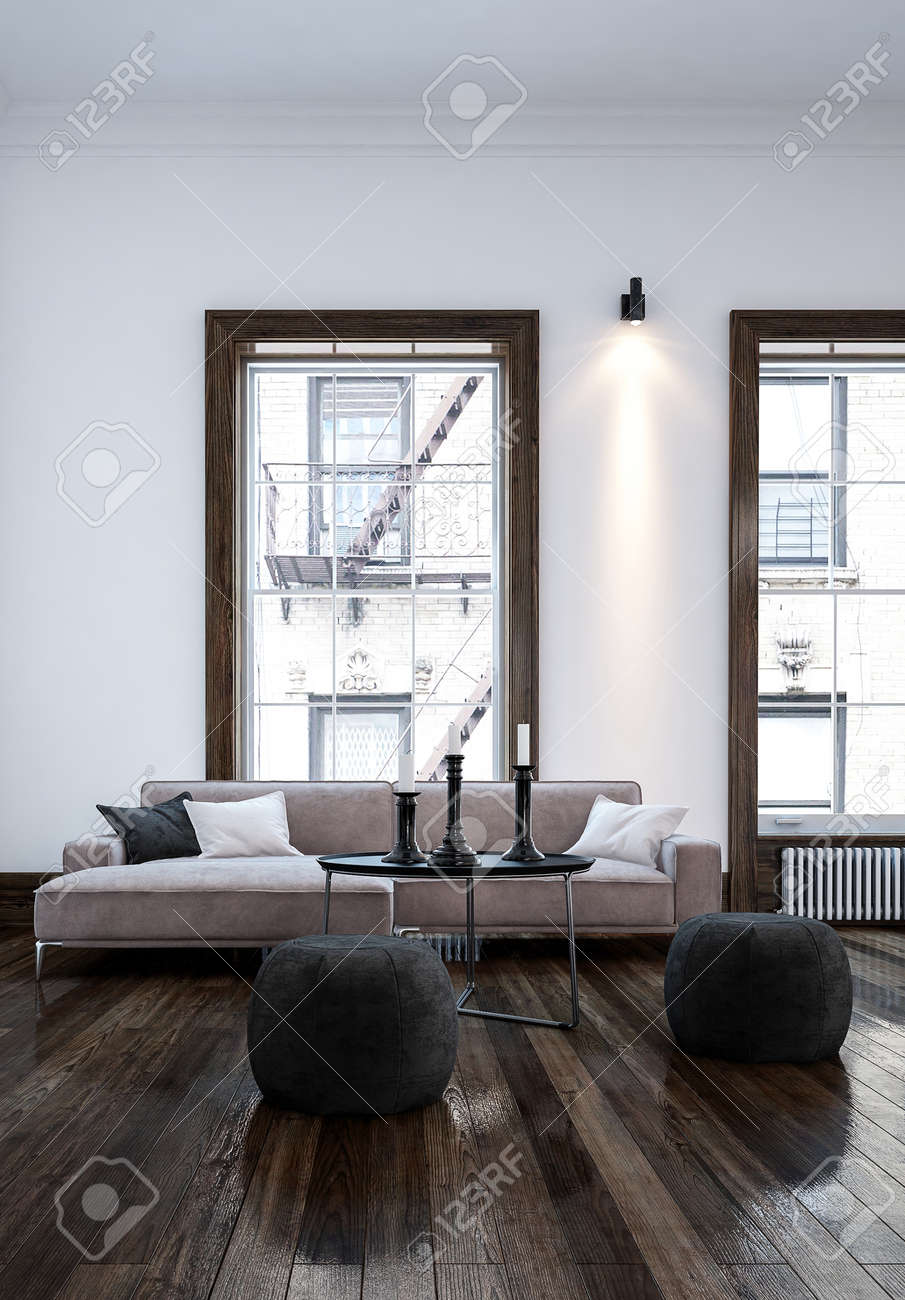 Living Room With White Walls And High Windows In City Apartment ...
