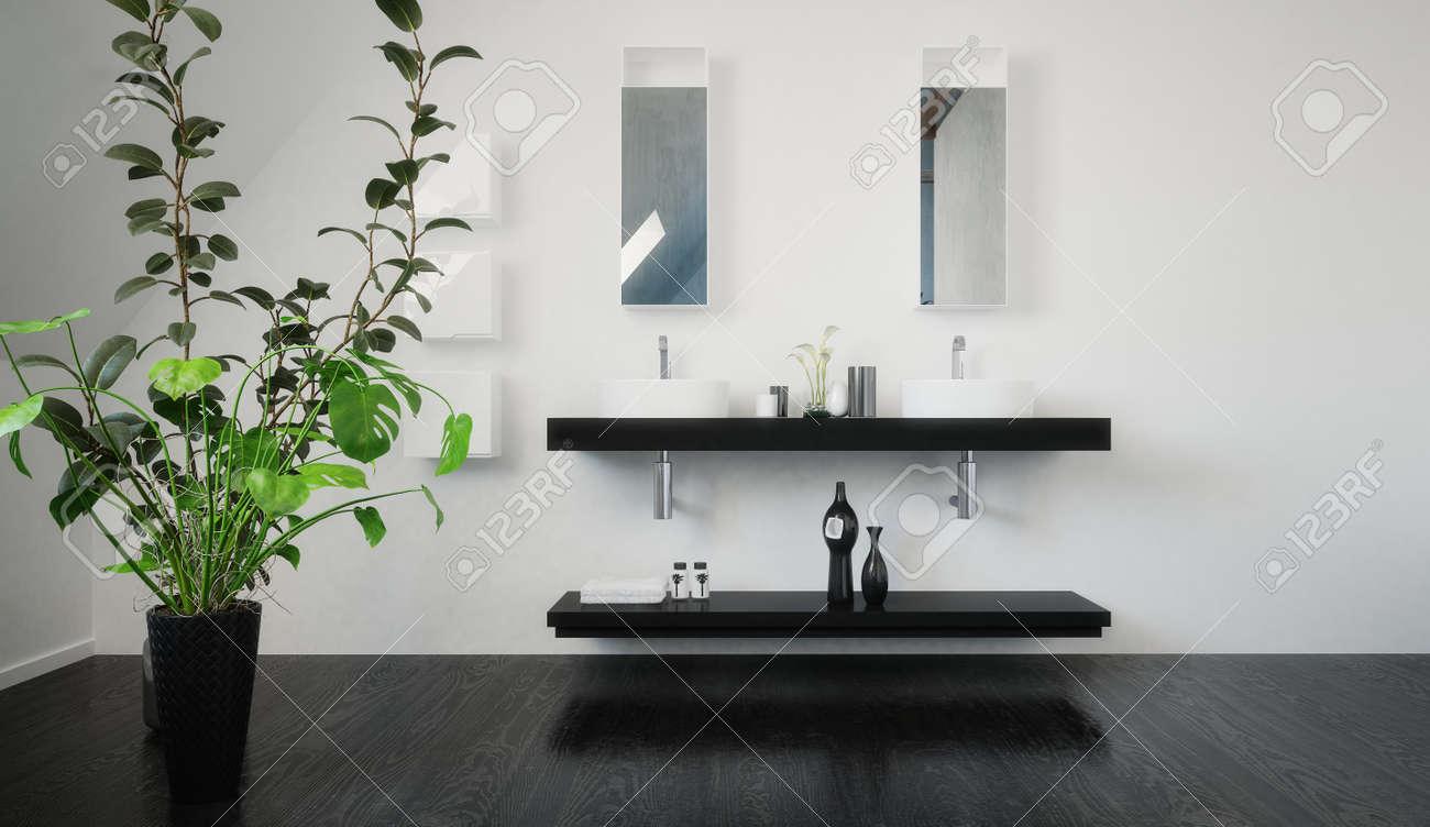Lavabo Salle De Bain Ovale ~ l gant fix au mur double noir meuble avec tag re ci dessous et
