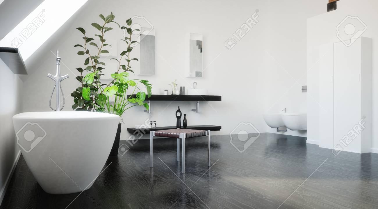 Baignoire Sous Les Combles baignoire sous une fenêtre de puits de lumière dans la pente du toit dans  une salle de bain noir et blanc moderne dans une conversion grenier ou dans