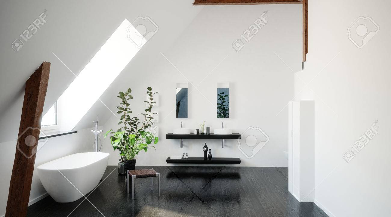Intérieur d\'une salle de bain loft noir et blanc moderne avec baignoire  éléctriques et un puits de lumière et un plafond en pente et double vasque  sur ...