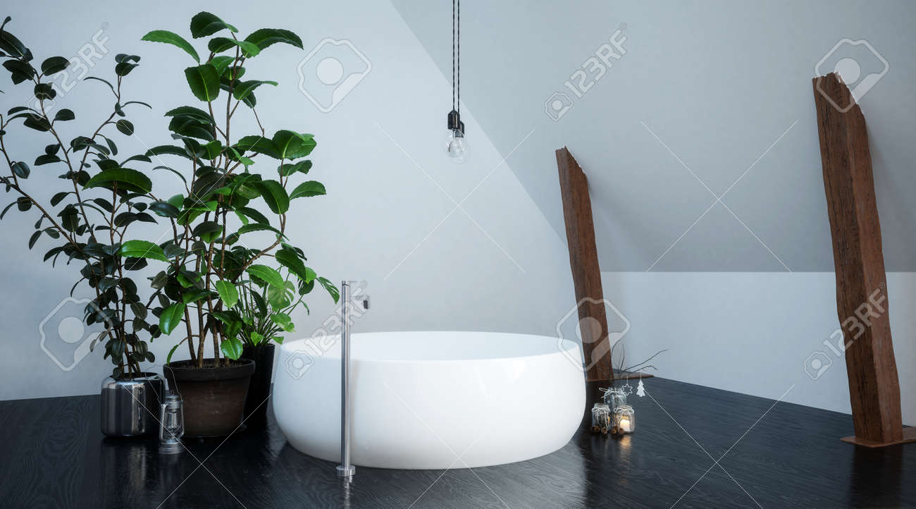 White Circular Bathtub In Compact Bathroom In A Corner Of An.. Stock ...