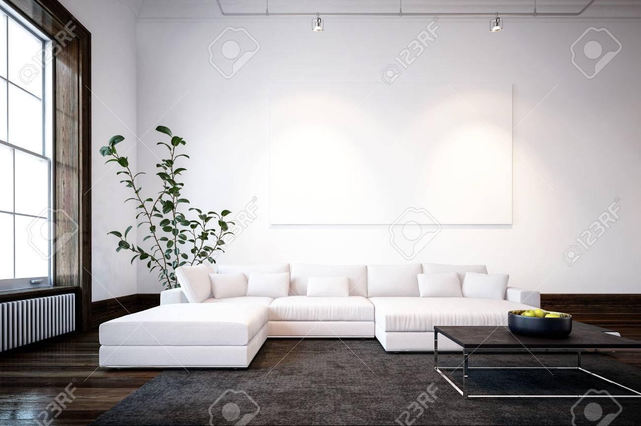 Large spacious modern minimalist living room interior with cream..