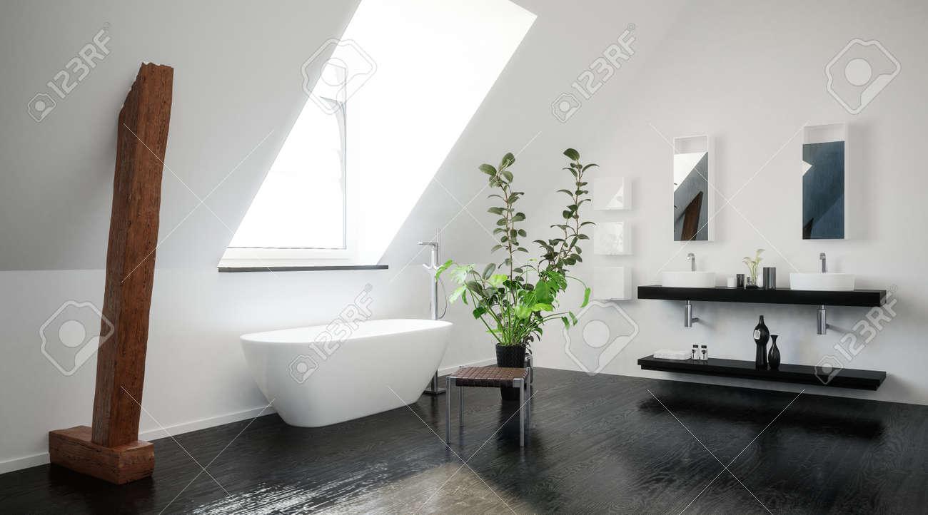 Salle de bains moderne grenier noir et blanc élégant avec des poutres de  soutien en bois apparentes, une baignoire éléctriques et double vanité sous  ...