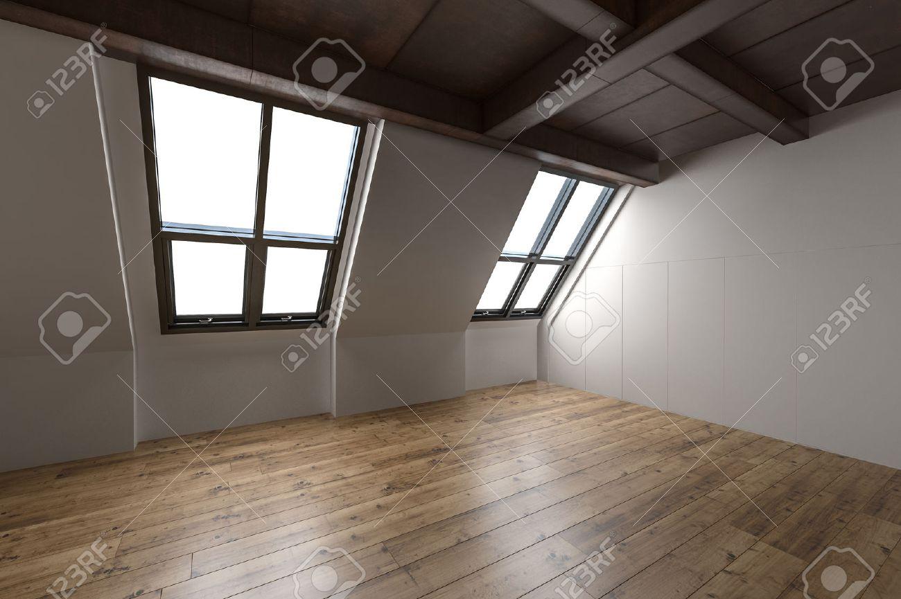 Leere Innenraum Eines Umgebauten Dachgeschosses Mit Abschüssigen Fenstern,  Sichtbaren Balken Und Holz Decke Und Parkettboden