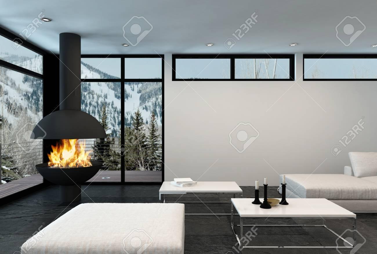 En commun Rugit Feu Dans Une Cheminée D'angle Moderne Appartement De Luxe &OB_06