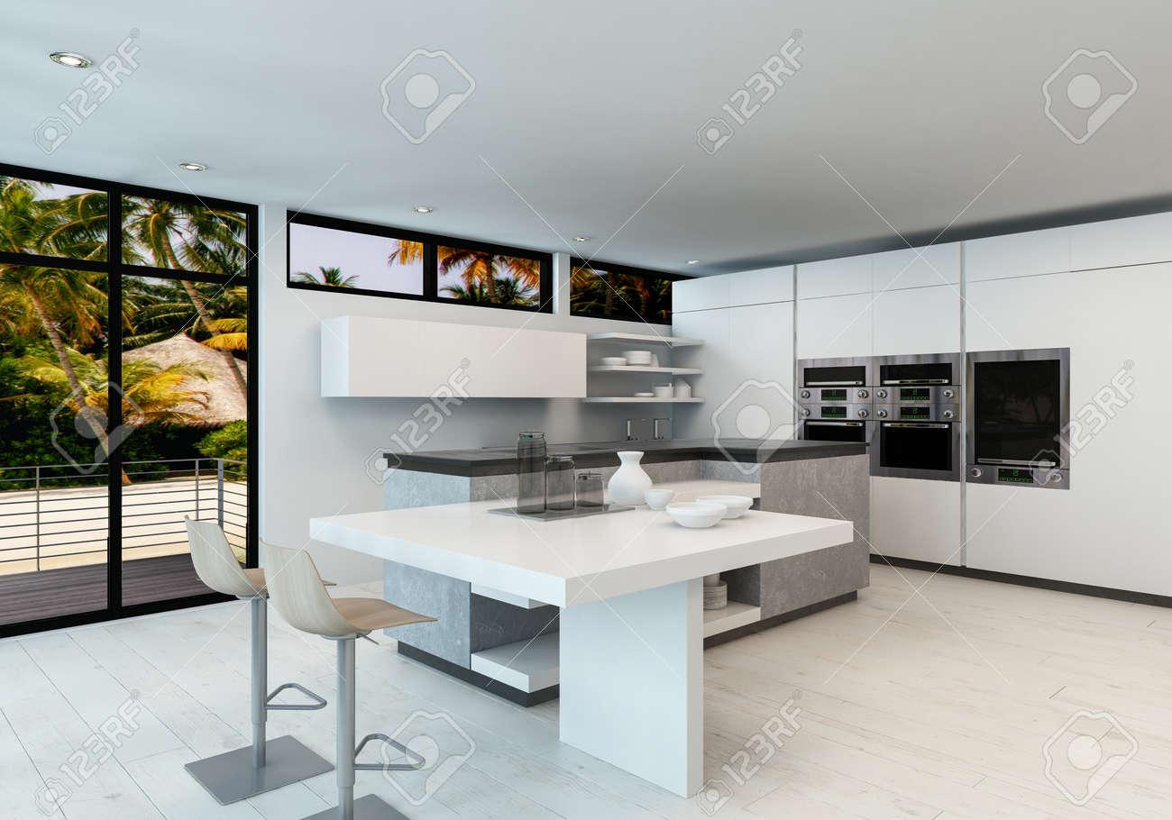 Cuisine Propre Et Blanc Moderne Plan Ouvert Interieur Avec Comptoir