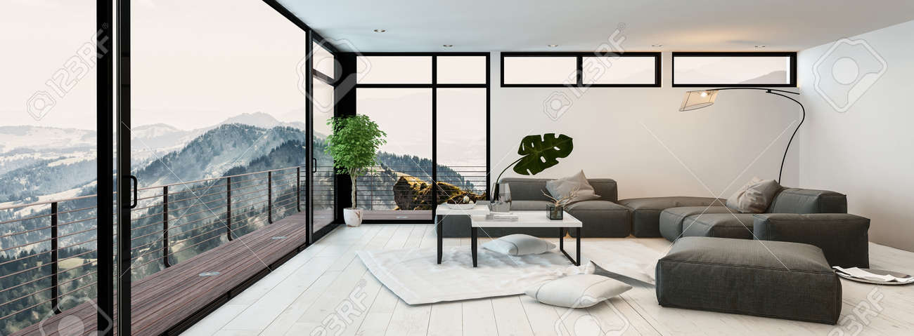 Large Modern Glass Walled Living Room Interior Overlooking Mountain ...