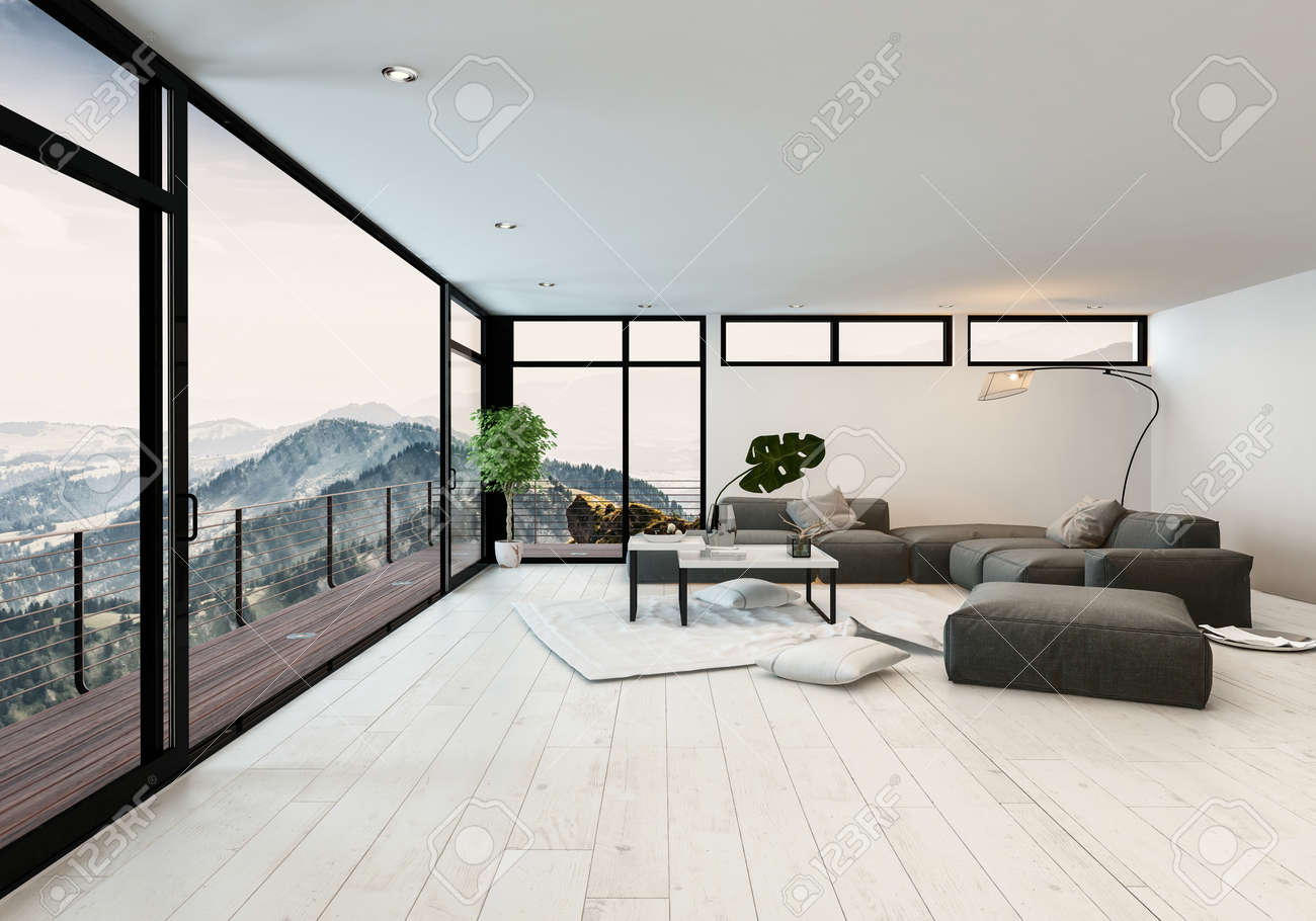 Room With Panoramic Windows And Balcony With Mountain View