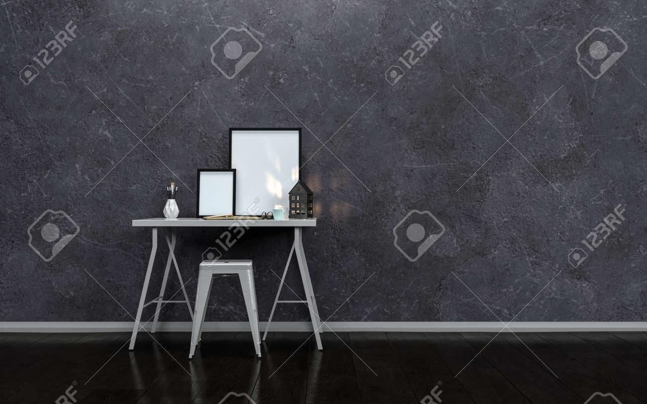 Petite table décriture moderne ou dun bureau avec des cadres en