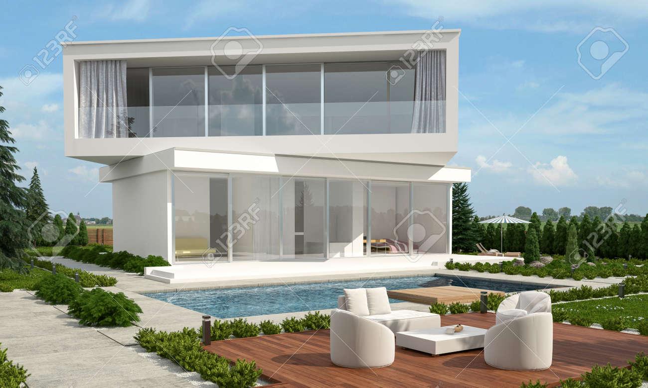 Maison de design moderne avec des planchers décalés donnant sur des  directions différentes et un jardin paysager avec piscine entourée d\'une  forêt à ...