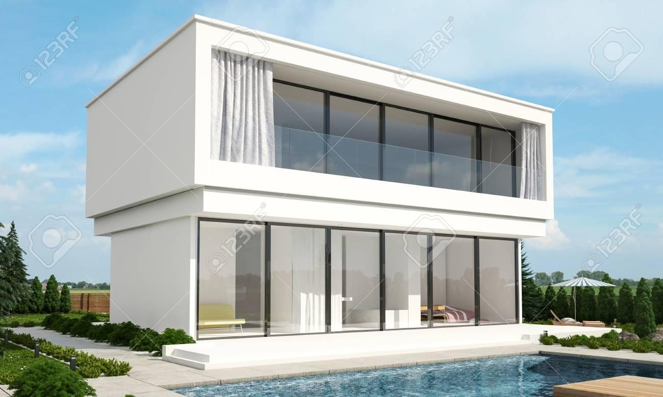 Villa De Luxe Moderne De Deux étages Avec Un Patio Extérieur Et De ...