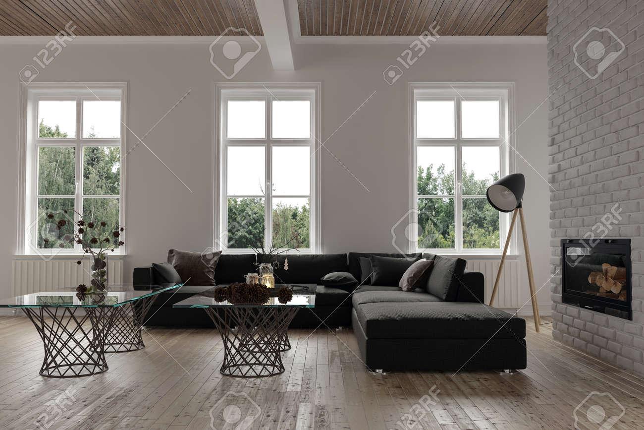 Komfortable Ecke In Einem Modernen Wohnzimmer Interieur Mit Drei ...