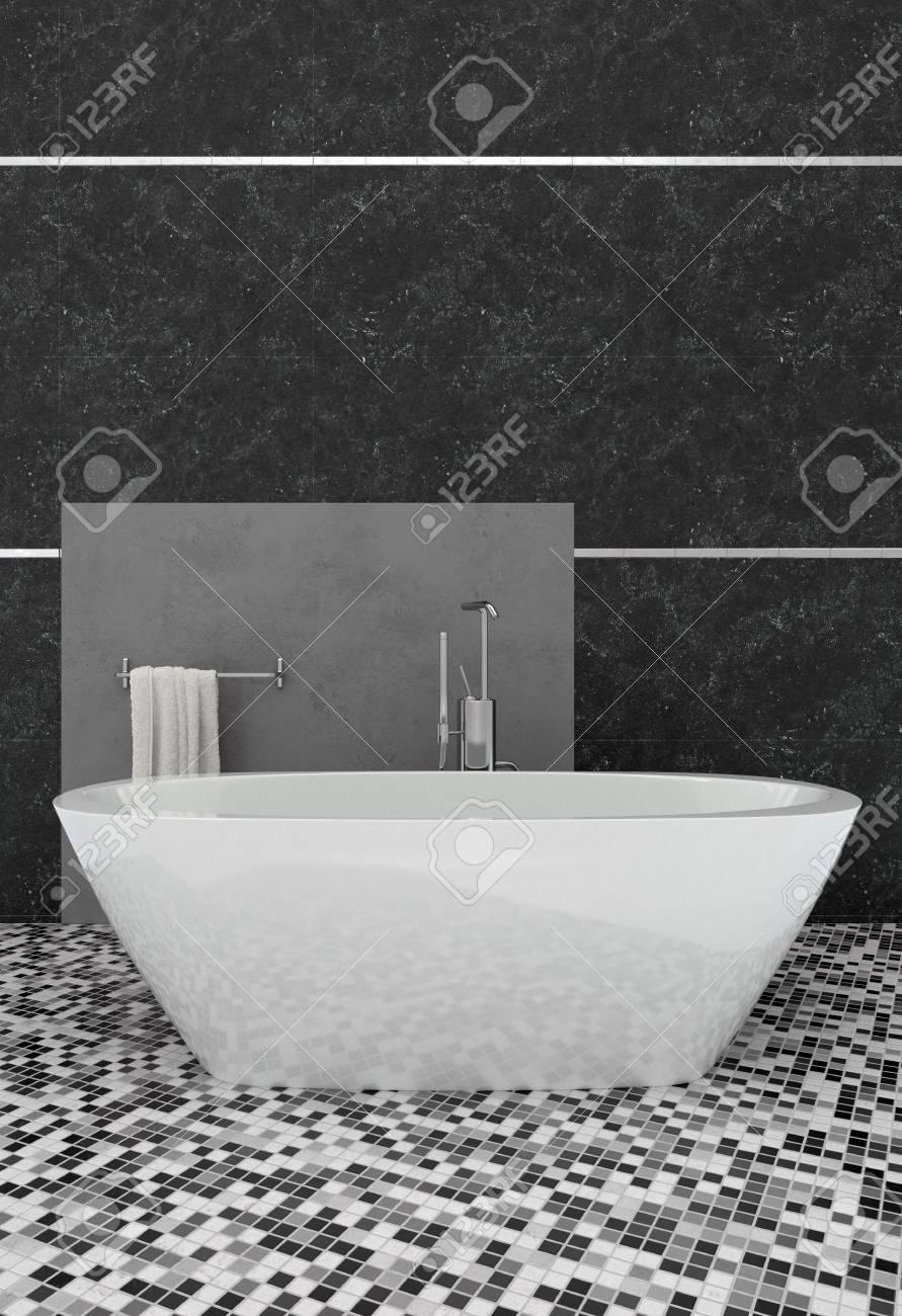 Légante salle de bain moderne avec baignoire ovale blanche sur un sol  carrelé en mosaïque à motifs gras contre un mur gris foncé. Rendu 20D