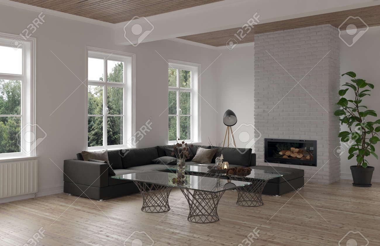 Gemütliche Wohnzimmer-Ecke mit modularem Sofa moderner Glas-Couchtisch,  Heizkörper und Kamin mit drei Fenstern mit Blick auf einen Garten.