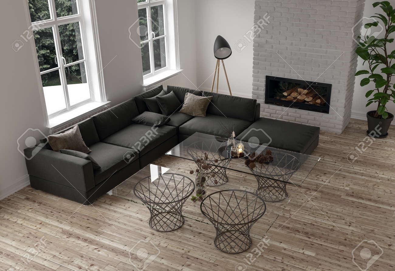 Table Basse Grand Salon décor minimaliste dans un salon moderne avec un grand canapé d'angle  modulaire sombre et des tables basses en verre surmontées d'une cheminée  insert