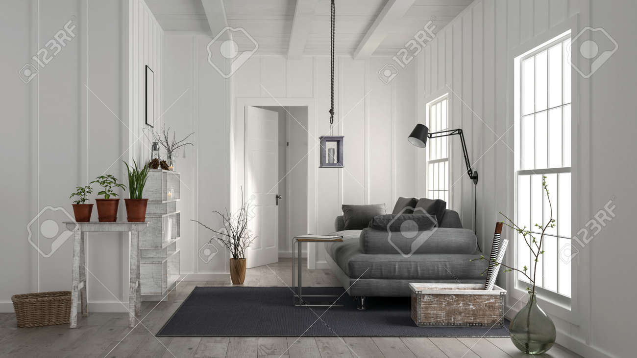 Cosy Rustic White Wood Living Room Interior With A Large Comfortable