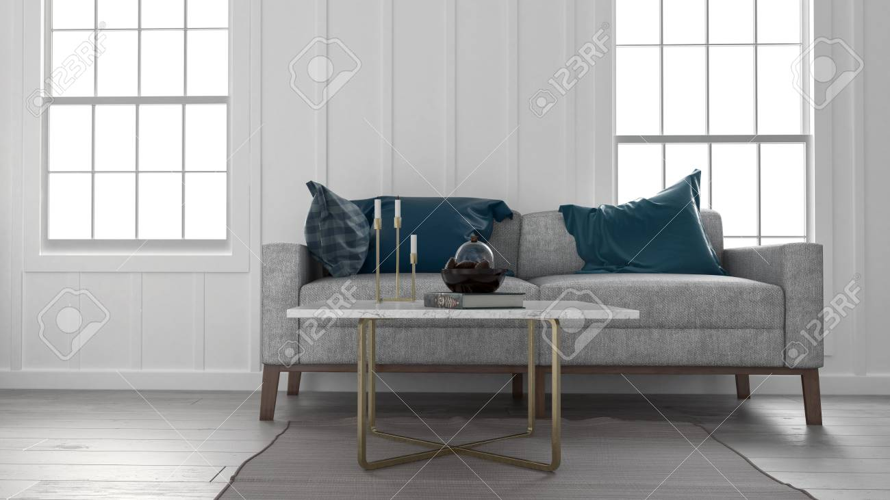 Low angle view of sofa and coffee table in modern apartment with..