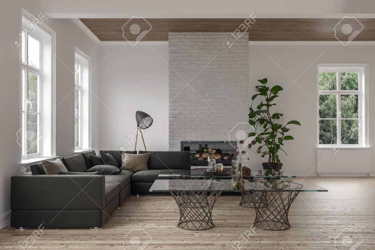 Geräumiges Modernes Wohnzimmer Interieur Mit Kamin Und Holzboden Und Decke  Mit Einem Großen Ecksofa Und Glas