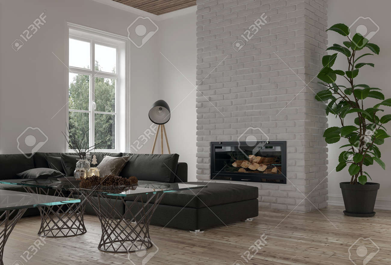 Cozy corner in a modern lounge or den with a large modular sofa