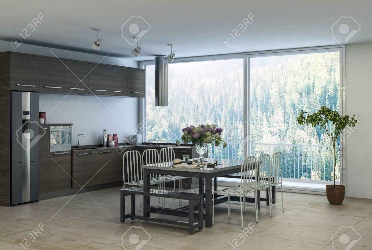 Moderna Y Moderna área De Cocina Comedor En Un Apartamento Con ...