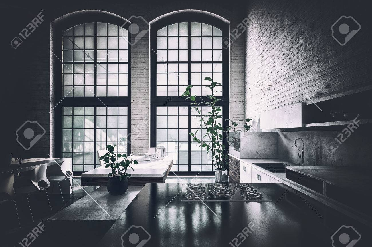 Loft Kitchen With Light Gray Cabinets Transitional Kitchen