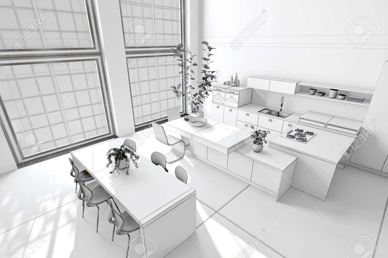 Cocina blanca y limpia y comedor con decoración monocromática, armarios  empotrados y electrodomésticos y una mesa y sillas modernas frente a  ventanas ...