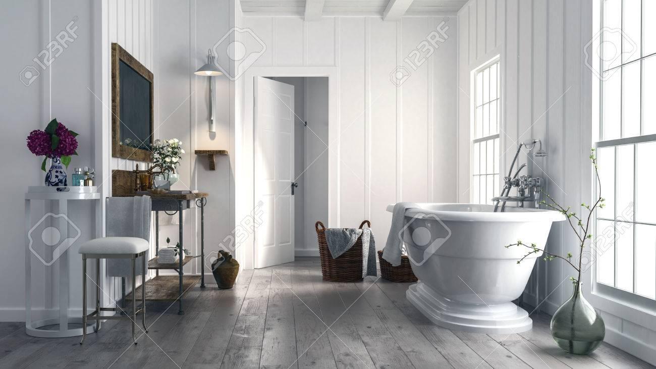 Salle de bain rustique à la mode avec une baignoire autonome en forme de  bateau en face de deux fenêtres lumineuses et de vieux planchers en bois  avec ...