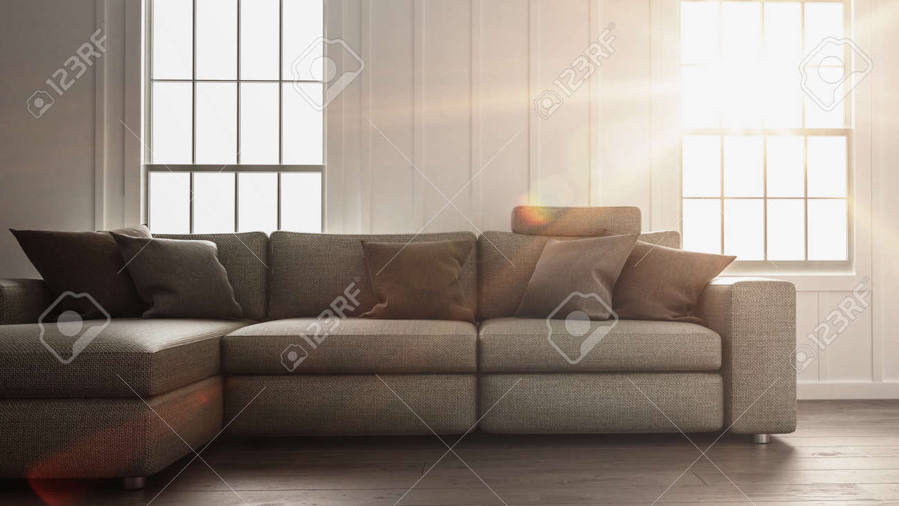 Bright Sunlight Flooding A Simple Living Room Interior With Minimalist