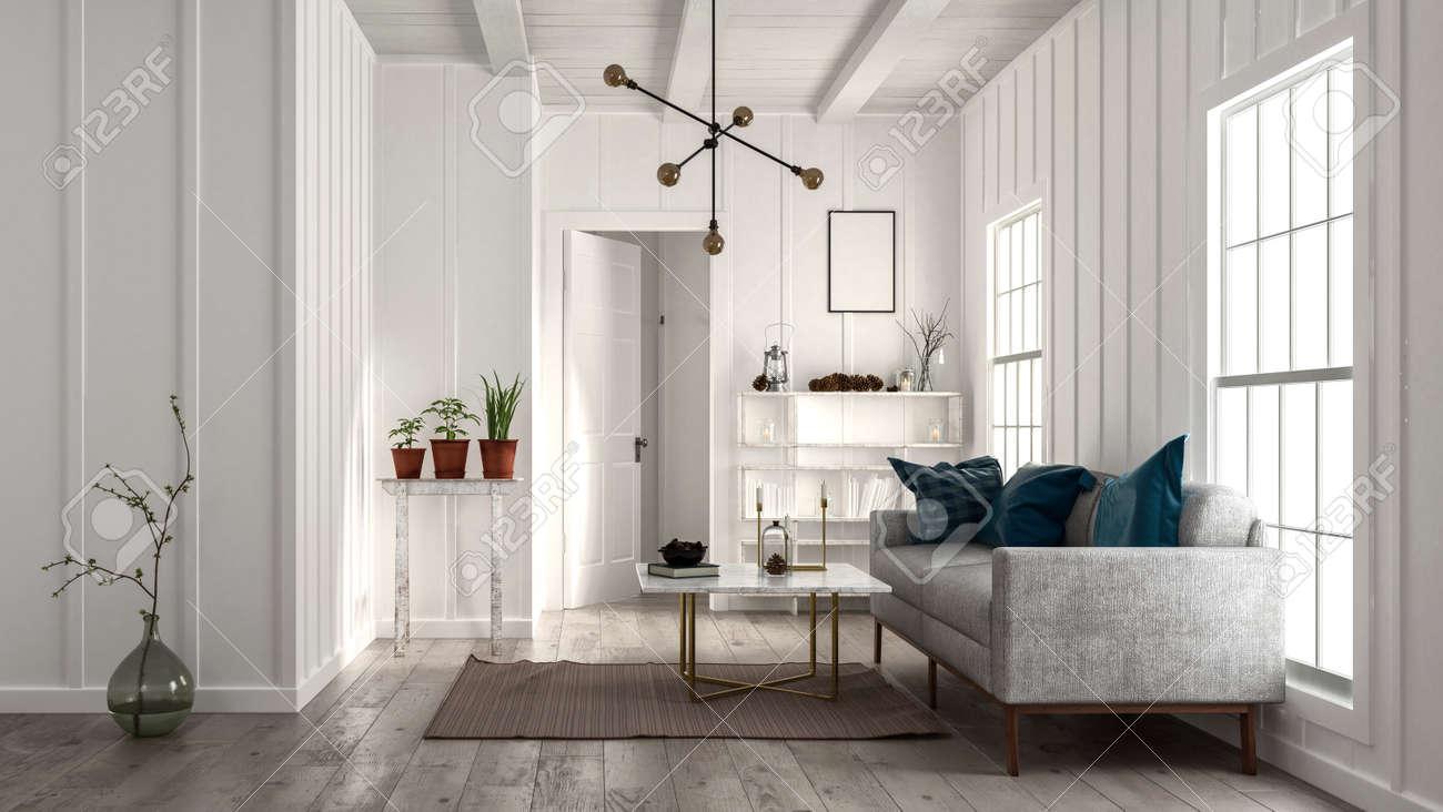 Standard Bild   Wohnzimmer In Minimalistischen Design Mit Weißen Wänden Und  Decke, Sofa In Der Nähe Von Hellen Fenstern, Moderne Designer Lampe Und ...