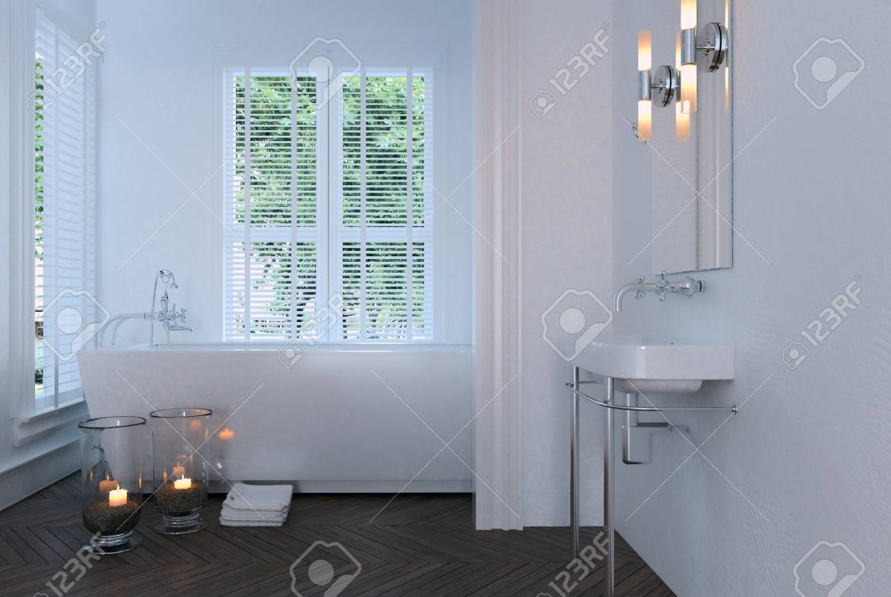 Romantic Small White Bathroom With Burning Candles And A Rectangular ...
