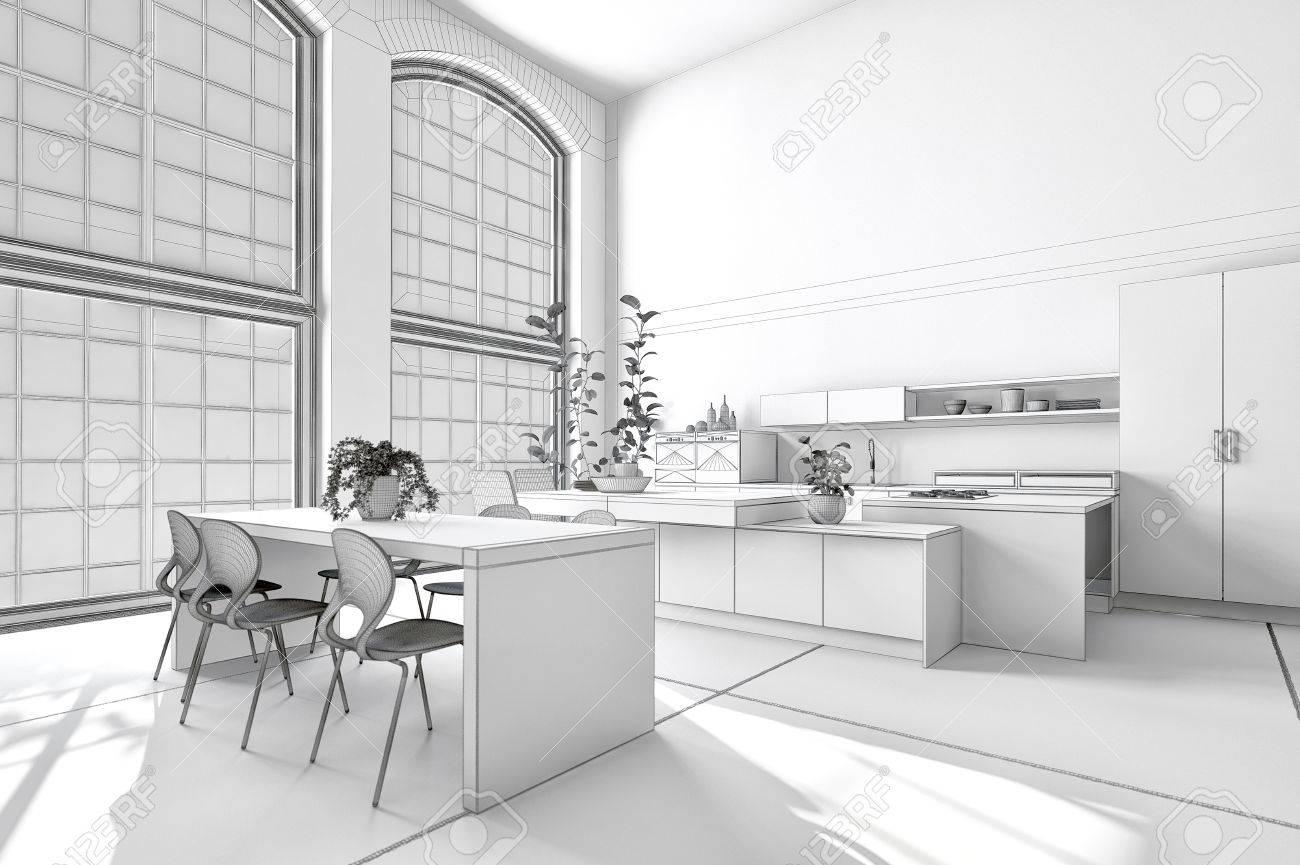 Cuisine américaine moderne et lumineuse avec des armoires et des appareils  ménagers et une salle à manger élégante. Rendu 3D
