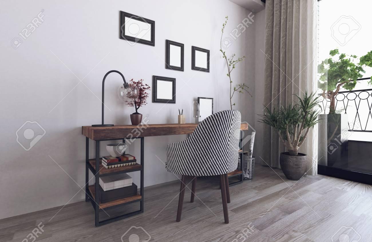 Intérieur de style hipster scandinave avec bureau en bois rendu