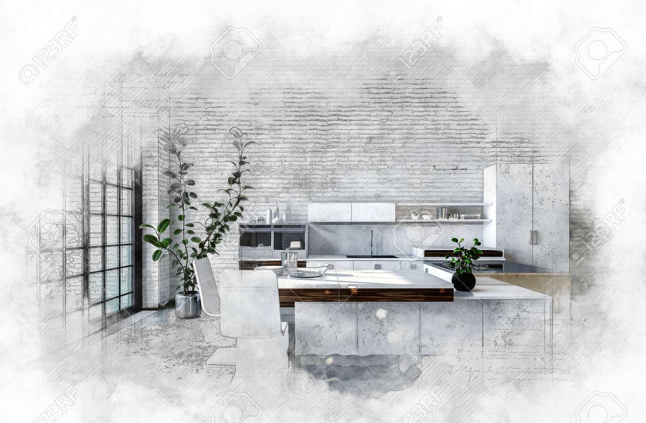 Künstlerische Strukturierte Monochrome Malerei Einer Modernen Küche Mit  Einbauschränken Und Bartheke Umgeben Von Einer Leichten Vignette